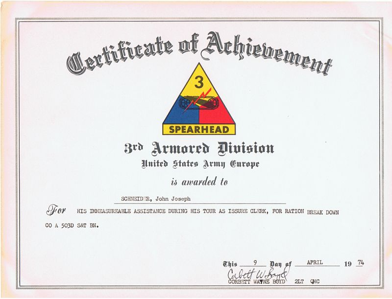 Certificate of achievement 3rd armored division us army europe certificate of achievement yelopaper Images