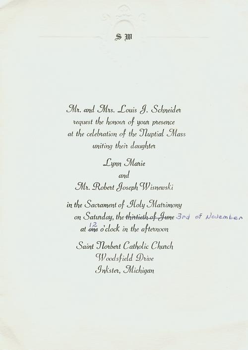 Wedding invitation for Lynn Schneider and Bob Wisnweski November 3 1973
